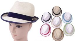 48 Units of Assorted Color Fedora Hats - Fedoras, Driver Caps & Visor