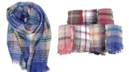 36 Units of Unisex Checker Printed Scarf - Winter Scarves