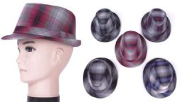 50 Units of Unisex Plaid Fedora Hat - Fedoras, Driver Caps & Visor