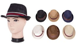 72 Units of Men's Striped Fedora Hat - Fedoras, Driver Caps & Visor