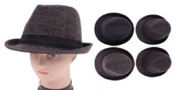 48 Units of Men's Plaid Fedora Hat - Fedoras, Driver Caps & Visor