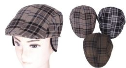 72 Units of Men's Plaid Driver Cap With Ear Flap - Fedoras, Driver Caps & Visor