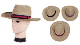 48 Units of Men's Straw Hat - Fedoras, Driver Caps & Visor