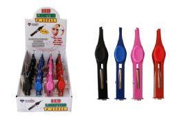 24 Units of LED Tweezers Assorted Colors - Cosmetics