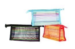 60 Units of Mesh Cosmetic Pouch Striped - Cosmetic Cases