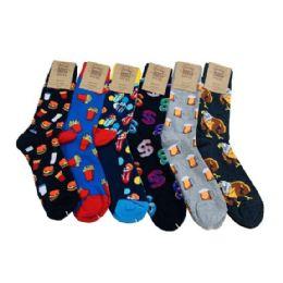 24 Units of 1pr Crew Socks 10-13 [Fun Prints] - Mens Crew Socks