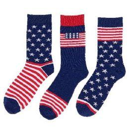 24 Units of 1pr Crew Socks-3 Styles [Americana] 10-13 - Mens Crew Socks