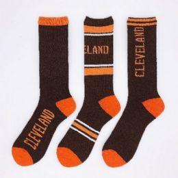 24 Units of 1pr Crew Socks-3 Styles [CLEVELAND] 10-13 B/O - Mens Crew Socks