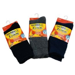 24 Units of Men's Extreme Thermal Crew Socks 10-13 - Mens Thermal Sock