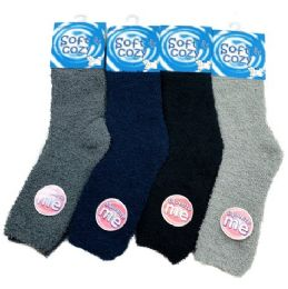 24 Units of Men's Soft & Cozy Fuzzy Socks [Solid Colors] - Men's Fuzzy Socks