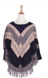 36 Units of Women's Fashion Striped Winter Ponchos - Winter Pashminas and Ponchos