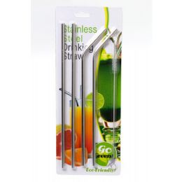24 Units of Stainless Steel Drinking Straws 5pack - Straws and Stirrers