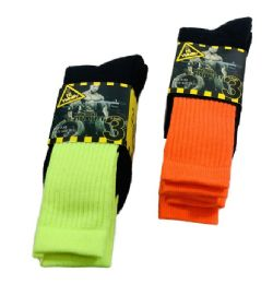 24 Units of Men's Neon Work Socks, Size 10-13 - Mens Tube Sock