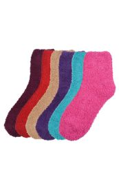 120 Units of Women's Fuzzy Plush Soft Socks Size 9-11 - Womens Fuzzy Socks