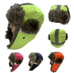 24 Units of Aviator Hat with Fur Trim [Neon with Reflective Strip] - Trapper Hats