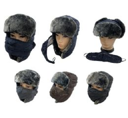 24 Units of Aviator Hat with Fur Trim and Detachable Mask [3-in-1] - Trapper Hats