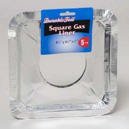144 Units of Aluminum Square Gas Liner 5pk Peggable Header Bulkpk - Aluminum Pans