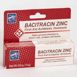 24 Units of Lucky Bacitracin Zinc First Aid Antibiotic Ointment 0.5oz Boxed - Skin Care