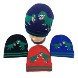 36 Units of Child's Knitted Cuffed Winter Hat [Dinosaurs] - Junior / Kids Winter Hats