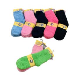48 Units of Child's Soft and Cozy Fuzzy Socks 10-12 - Girls Crew Socks
