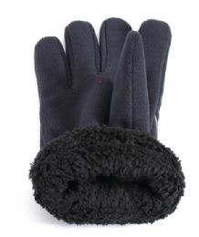 60 Units of Men's Fleece Gloves With Fur Insides - Assorted Colors - Winter Gloves