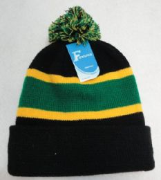 24 Units of DoublE-Layer Knitted Hat With Pompom [black/green/gold] - Winter Beanie Hats