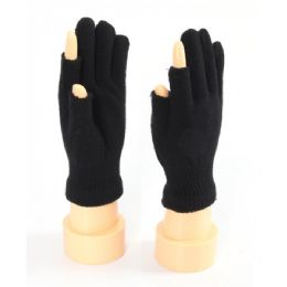 48 Units of Two Finger Less Glove In Black - Winter Gloves