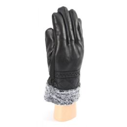 36 Units of Men's Leather Like Gloves With Fur Lined - Leather Gloves