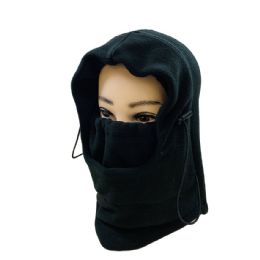 36 Units of Extra Warm Black Fleece Hooded Face Mask - Unisex Ski Masks