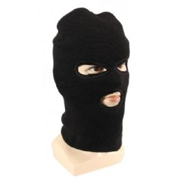 36 Units of Adults Black Lined Three Hole Ski Face Mask With Fur - Winter Hats