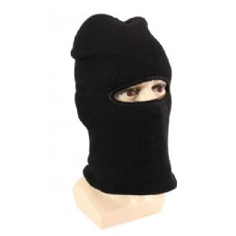 36 Units of Adults Black Lined One Hole Ski Face Mask With Fur - Winter Hats