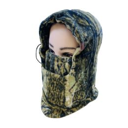 24 Units of Extra-Warm Camo Fleece Hooded Face Mask - Unisex Ski Masks