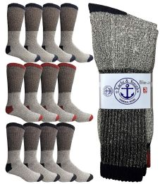 12 Units of Yacht & Smith Mens Cotton Thermal Crew Socks, Cold Weather Boot Sock Shoe Size 8-12 (12) - Mens Thermal Sock