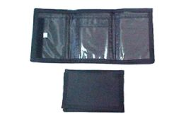 48 Units of Black Tri Fold Velcro Wallet - Wallets & Handbags