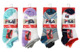 48 Units of FeatFila No Show Socks 3 Pair - Womens Ankle Sock