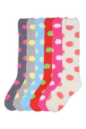 120 Units of Womens Polka Dot Print Fuzzy Plush Knee High Socks - Womens Fuzzy Socks