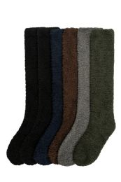 120 Units of Womens Solid Dark Color Soft Touch Fuzzy Knee High Socks - Womens Fuzzy Socks