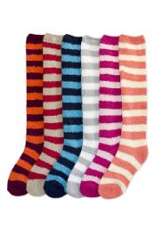120 Units of Womens Striped Fuzzy Plush Knee High Socks - Womens Fuzzy Socks