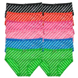 72 Units of Angelina Cotton Hiphuggers With White Stripes Rhinestone Embellishment - Womens Panties & Underwear