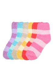 120 Units of Women's Striped Plush Soft Socks Size 9-11 - Womens Fuzzy Socks