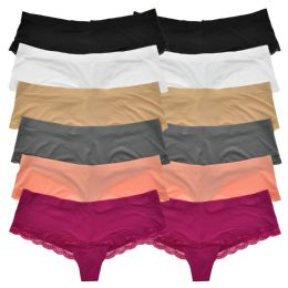 72 Units of Angelina Laser Cut No-Show Cheeky Bikini Panties - Womens Panties & Underwear