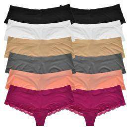 72 Units of Angelina Laser Cut No-Show Cheeky Bikini Panties - Womens Panties & Underwear