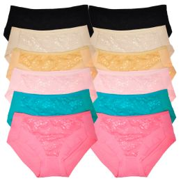 72 Units of Angelina Cotton Mid-Rise Briefs with Floral Lace Overlay - Womens Panties & Underwear