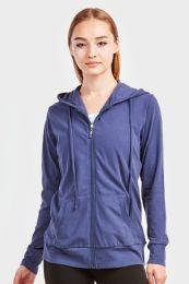 12 Units of Women's Lightweight Zip Up Hoodie Jacket Denim - Womens Active Wear