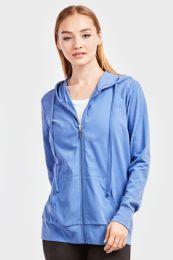 24 Units of Women's Lightweight Zip Up Hoodie Jacket Blue - Womens Active Wear