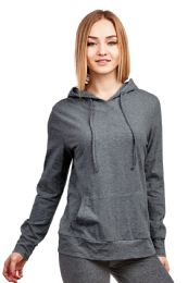 24 Units of Women's Lightweight Pullover Hoodie Charcoal Gray - Womens Active Wear