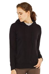 24 Units of Women's Lightweight Pullover Hoodie Black - Womens Active Wear