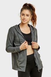 24 Units of Women's Lightweight Zip Up Hoodie Jacket Charcoal Gray - Womens Active Wear