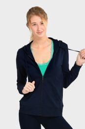 24 Units of Women's Lightweight Zip Up Hoodie Jacket Navy - Womens Active Wear