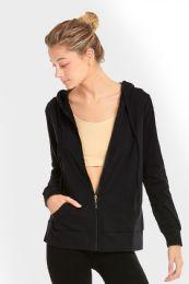 24 Units of Women's Lightweight Zip Up Hoodie Jacket Black - Womens Active Wear